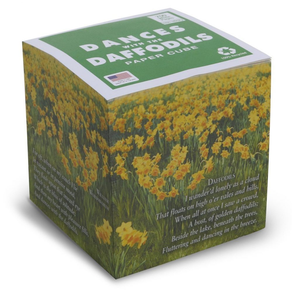 "NOT STICKY 3.5"" Dances with the Daffodils (Wordsworth POEM) Note Cube"