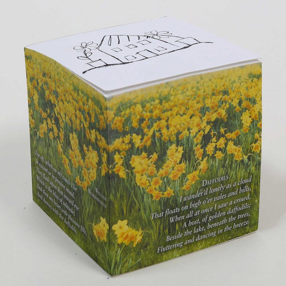 "NOT STICKY 3.5"" Dances with the Daffodils (Wordsworth POEM) Note Cube Alternate"