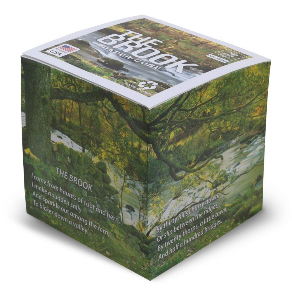 "NOT STICKY 3.5"" The Brook (Tennyson POEM) Note Cube"