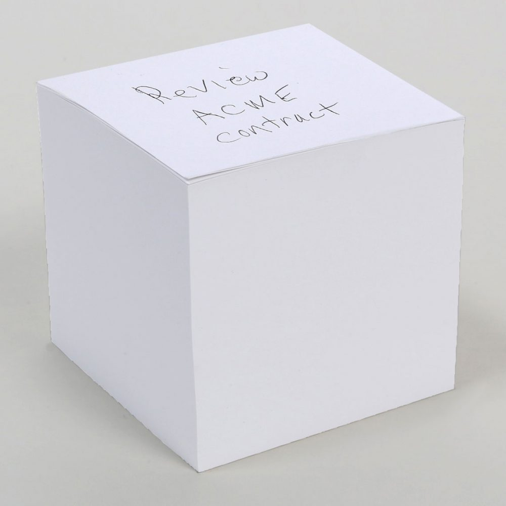"NOT STICKY 3.5"" Blank Note Cube"